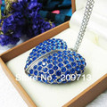 Wholesale NEW heart shape blue crystal usb 1GB 2GB 4GB 8GB 16GB 32GB USB 2.0 Memory Stick Flash Drive, free shipping