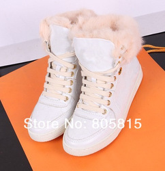 Free shipping 2012 Winter Cow Leather Stylish Casual Women&#39;s Flat Boots,Metal Mixed Colors Increased insoles High Top Shoes(China (Mainland))