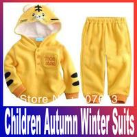 Cute design baby girl boy cartoon Tiger clothing suits (coat +pants )2pcs suit children autumn winter suits Free Shipping
