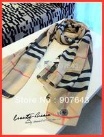 classic fashion British plaid scarf  ladies' scarf Women's chiffon scarf Free Shipping