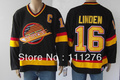 Hockey jerseys Men's cheap Jerseys Vancouver Canucks #16 Trevor Linden Stitching Black CCM Throwback Vintage  Hockey jerseys