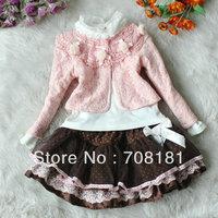 Free shipping 4pcs/lot  Children's clothing suits baby 3pcs sets Girls lace Flowers coat jacket + shirts + dot bow skirt