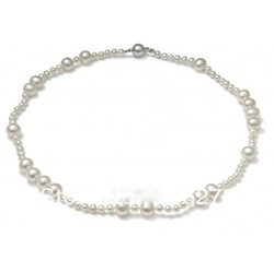New Arrive Chirstmas Jewellery ! New Design Natural AA 4-8MM White Mixes Genuine Freshwater Pearl Necklace 18inch Hot Sale(China (Mainland))