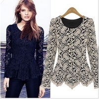 Free Shipping 2013 Autumn Winter Ladies Long-sleeve O-neck Patchwork White Lace Shirt Blouse Top Blouses for Women JB121186