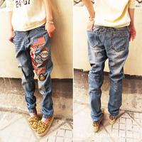 2013  women's autumn vintage loose denim pants hole jeans trousers