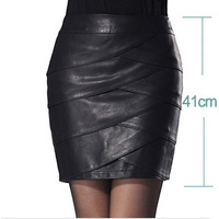 Women's 2012 autumn and winter leather skirt fashion slim bust skirt PU plus size