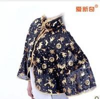 Halloween party dress Halloween supplies children | adult hardback gold pumpkin short shawl cloak