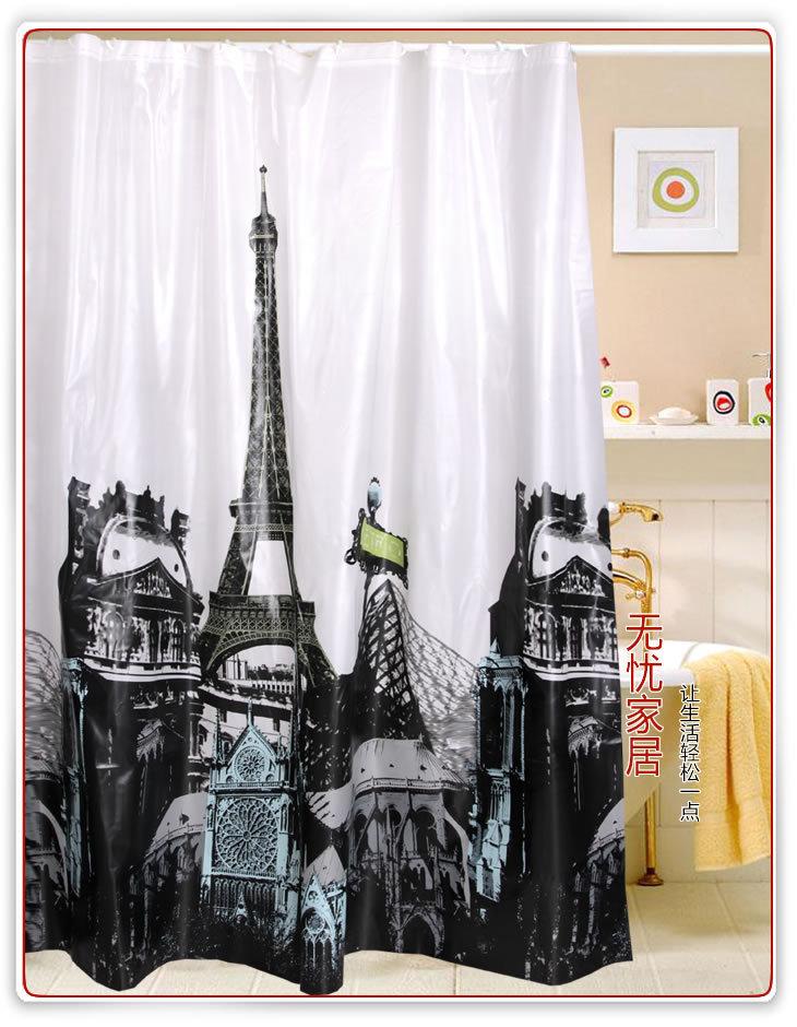 Cortinas De Baño Negras:Paris Eiffel Tower Shower Curtain