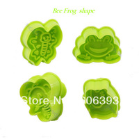 4pcs/set Fondant Cake Cookie Mold Modeling Decoration Bee Frog Style Plunger Cutter Free Shipping