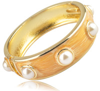 Min. Order is $15 mixed order  Free Shipping  Pearl Beads Embedded Bangle Fashion Jewelry Bracelets For Women BA001 Gold