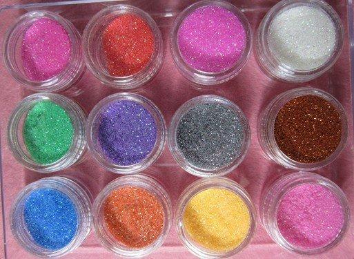 12 Color Lace Glitter Powder Nail Art Tip Decoration(China (Mainland))