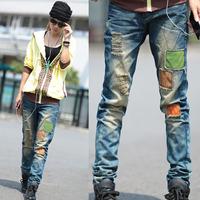 2012 autumn and winter female harem pants denim hiphop hole applique beggar pants