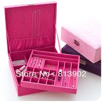 Large cosmetic box jewelry box princess deerskin goatswool fashion wood jewelry box display rack