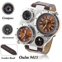 Oulm famous brand mens military quartz wrist watch dual japan Movt time compass thermmeter sports watches brown leather strip(China (Mainland))