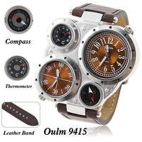 Oulm famous brand mens military quartz wrist watch dual japan Movt time compass thermmeter sports watches brown leather strip