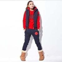 Printed Letters Winter Warm Fleece Thicken Hoodie+Vest+Pants 3pcs/set  Hoodies Sweatshirt Suit Women