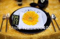 free shipping new desgin yellow   taffeta rosette table cloth  for weddings decoration