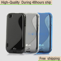 New S line TPU Gel Hard Skin Case Stand Cover For LG E730 Optimussol  Free Shipping UPS DHL EMS HKPAM CPAM