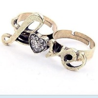 Min.order is $10 (mix order) 21A30 Fashion luxury retro bicyclic double heart-shaped love ring wholesale free shipping