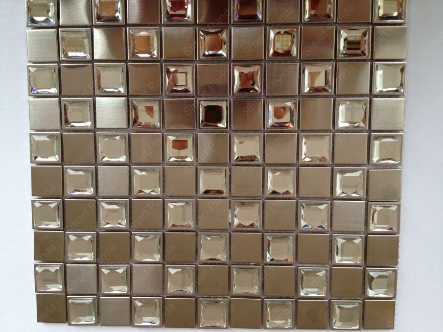 stainless steel mosaic tile backsplash matt cooper color with glass in