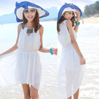 One-piece dress chiffon bohemia sexy dovetail full dress white beach dress short skirt female