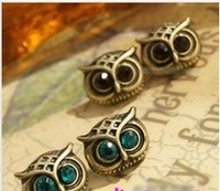 Fashion Earring.Metal Owl Stud Earrings Antique Rhinestone Earring*C113