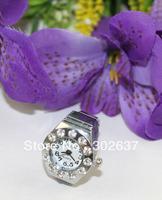 FREE SHIPPING 5PCS silver round rhinestone Finger Quartz Ring Watch #22390