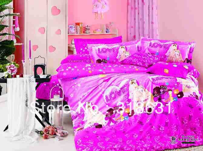 Romantic sweetie lover's bedding piece set rosy duvet quilt cover bed linen flat sheet bed in the bag full/queen- LOVE(China (Mainland))
