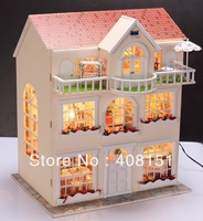 Free shipping, DIY 3D LED light Dream home fairy tale-mini doll house-Christmas Gift