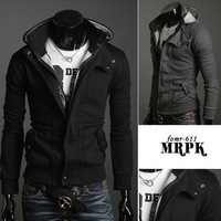 2013 autumn and winter male sweatshirt slim casual with a hood cardigan short design thickening men's clothing outerwear black