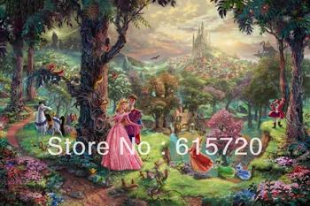 Thomas Kinkade Original Animation oil painting  ( Sleeping Beauty ) Art print reproduction on canvas wall decor