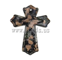 Free Shipping Handmade Lampwork Pendants, Cross, with gold sand, 48x59x6mm, Hole:Approx 3mm, 10PCs/Bag, Sold by Bag