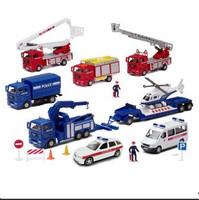 Set car model police car ambulance aerial ladder fire truck fire truck trailer