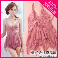 Summer underwear female sexy transparent gauze sleepwear lovely spaghetti strap nightgown lace temptation twinset