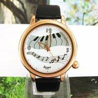 2012 Wholesale Classic Women Dress Watch White Wonderful Piano Musical Notes Analog Leather quartz Wrist Watch Round M666