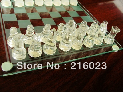 Family Games Classical Solid Glass Chess Set Educational Board Brain Games Toys(China (Mainland))