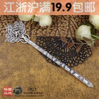 Hanfu cheongsam tibetan silver miao silver vintage hairpin lucky hairpin hair accessory bookmark dual x629