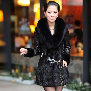 free shipping Fight mink fur coat 2015 fox mink hair slim plus cotton long-sleeve women's genuine leather overcoat