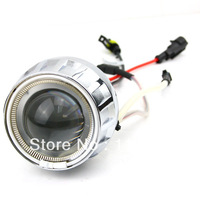 Promotional Best Sale!! HID Bi-Xenon Motorcycle Projector Lens Kit H7 H1 H4 White Angel Eye White Devil Eye lighting headlight