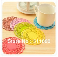 free shipping 10PCS/lot table decoration silicone lace cup pad,10CM table cup non-slip mat,non-slip pad