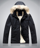 holiday sale free shipping Men's Hooded Fur Winter Coat Outerwear Warm Black Jacket new size M-2XL