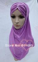 S267a new style two pieces hijab with rhinestones