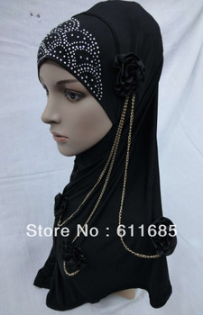 S265 fashion muslim hijab with flowers and chain