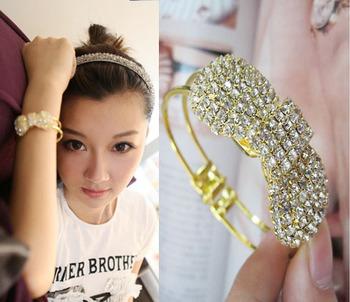 Nice Fashion 18K Gold Plated Bangle Bracelets Rhinestone Luxurious Full Simple Bowknot Bracelet for women SB057