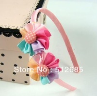 {Min.Order $15} 10pcs/ Lot  New Kids/Girl/Princess/Baby Double Ribbon Flower Hair Band/Hair Accessories Mixed Colors
