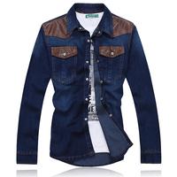 Free shipping leisure Men's denim shirt /man leisure shirt 124