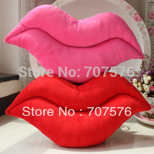 Lower Freight Living Room Chair Cushion Plush Cloth Sexy Red Lip Pillow  Car Seat  Wedding Gift 28*53cm Pink/Red