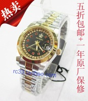 Free shipping,  New Fasion Double Line of Cristal  Luxury Womens Slim Quartz Watch.30m Waterproof, Japan Mov., Two Tone Color