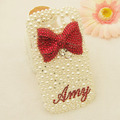 Customised your name 3D red bow pearl bling phone case for samsung Galaxy S3 III i9300 t999  i747
