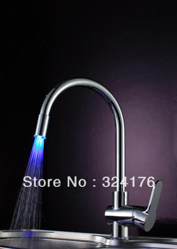 Brass chrome led lighting kitchen&bathroom water mixer faucet(China (Mainland))